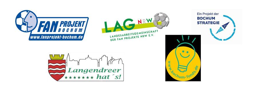 Logos FAN Projekt Bochum, LAG NRW, Ein Projekt der Bochum Strategie, Langendreer hat's und www.bochum-fonds.de